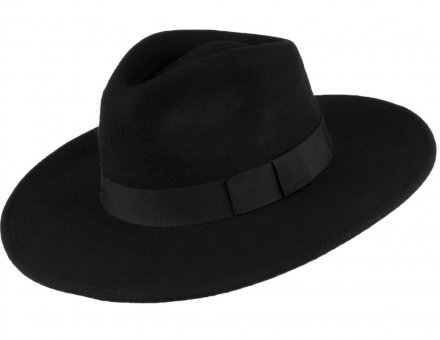 Hattar - Jaxon The Author Wide Brim Fedora Hat (svart)