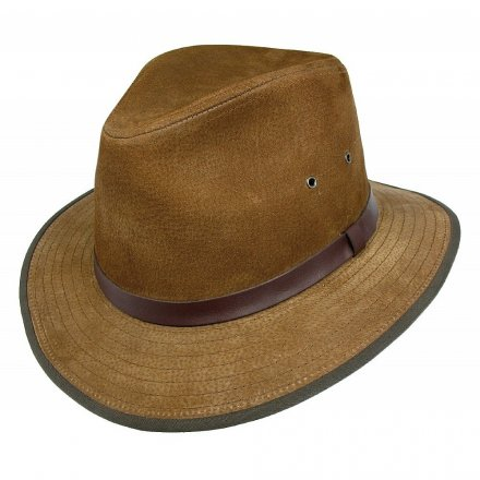 Hattar - Nubuck Leather Safari Fedora (kastanj)
