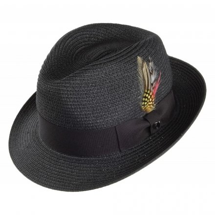 Hattar - Pinch Crown Straw Trilby (svart)
