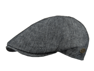 Gubbkeps / Flat cap - MJM Broker Linen/Cotton (svart mix)