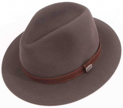 Hattar - Borsalino Alessandria Leather Band Fedora (grå)