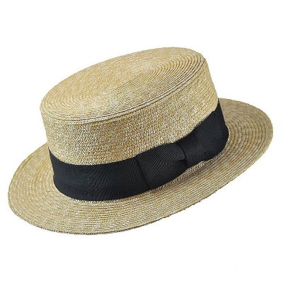 Hattar - Straw Boater Hat Black Band (natur)