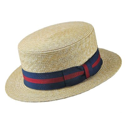 Hattar - Straw Boater Hat Striped Band (natur)