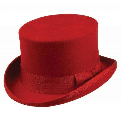 Hattar - Jaxon Mid-Crown Top Hat (hög hatt) (röd) - Herrhattar ... 38bf843b96fa6