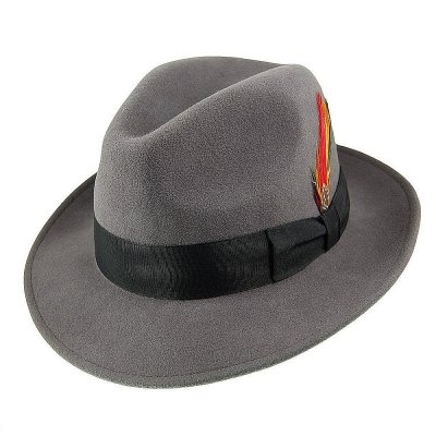 Hattar - Crushable Pinch Crown Fedora (grå)
