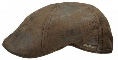 Gubbkeps / Flat cap - Stetson Texas Leather (brun)